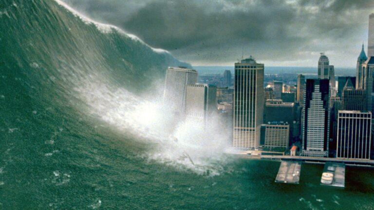 Tsunami do filme Impacto Profundo arrasando os Estados Unidos