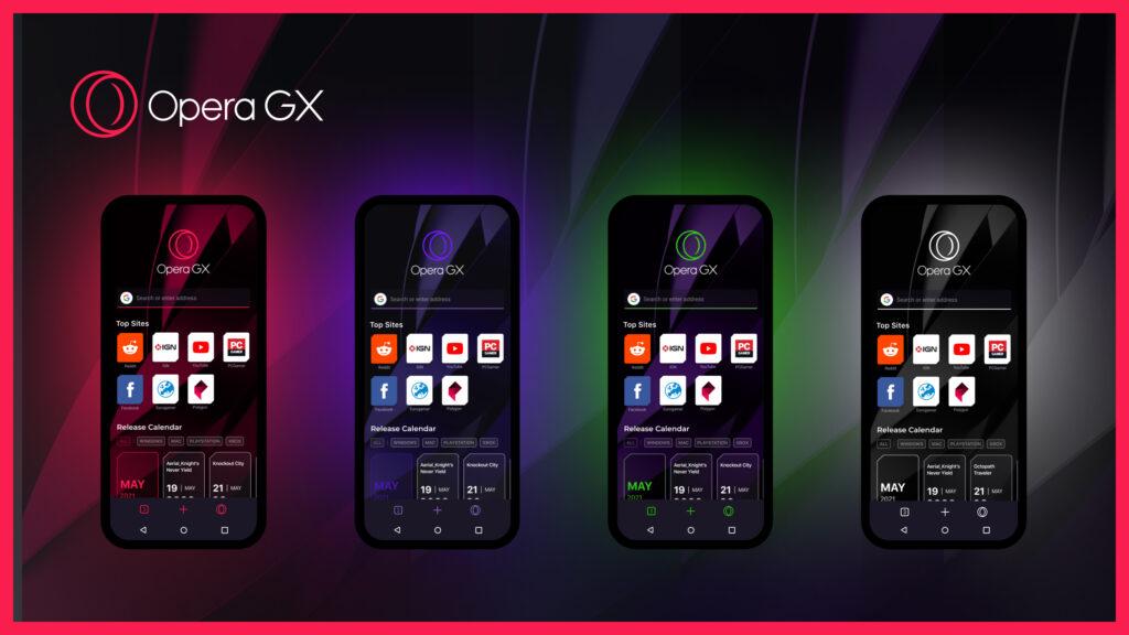 O design minimalista do navegador gamer mobile vem com quatro opções de paleta de cor: gx classic, ultra violet, purple haze e white wolf.