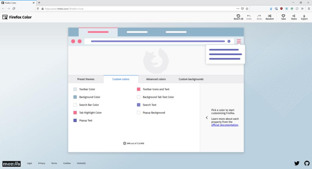 Tela de customização de cores da extensão firefox color com opções para barra de ferramentas, plano de fundo, barra de pesquisa, destaque da aba, texto popup, texto do plano de fundo da aba, texto de pesquisa e plano de fundo do popup.