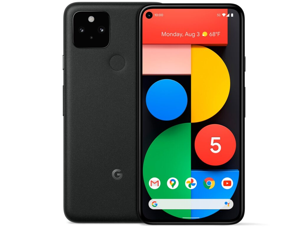 Google pixel 5 de frente e verso.