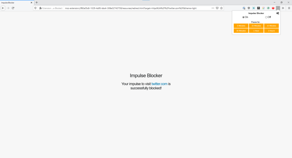 Tela de bloqueio do impulse blocker exibida ao tentar acessar twitter. Com
