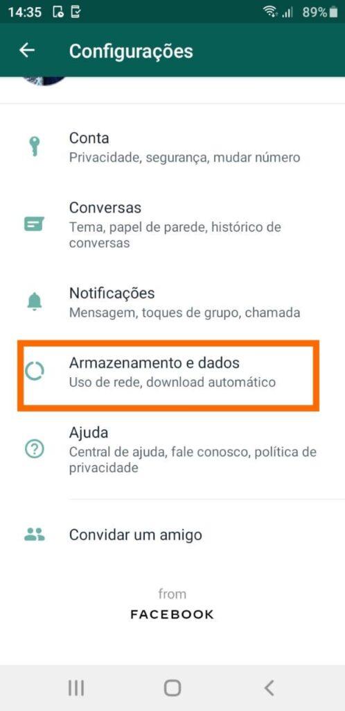 Armazenamento whatsapp