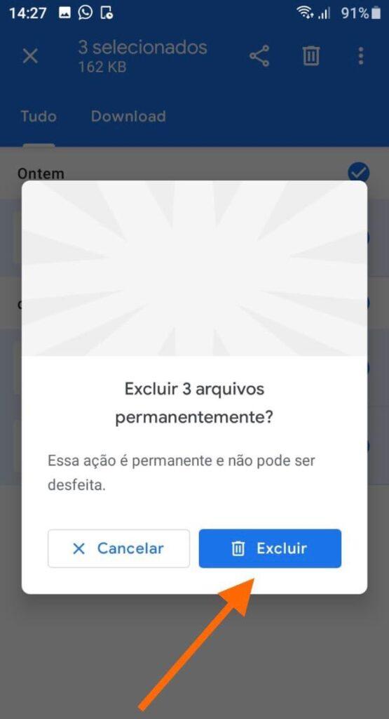 Excluir arquivos google files
