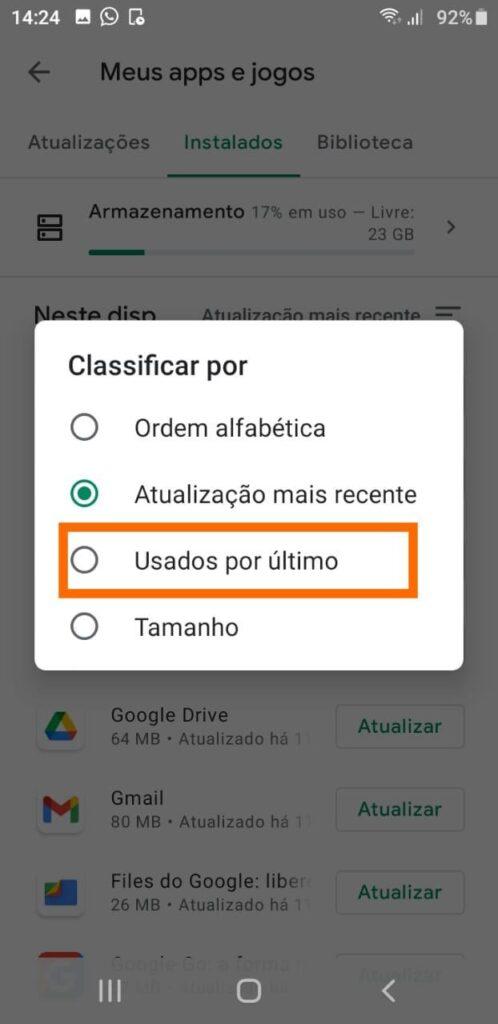 Apps usados por último android