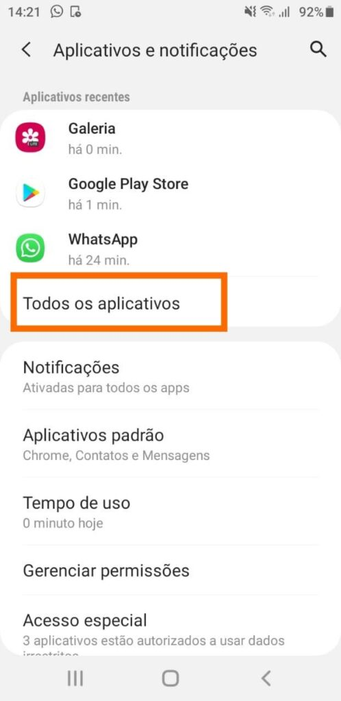 Todos os apps android