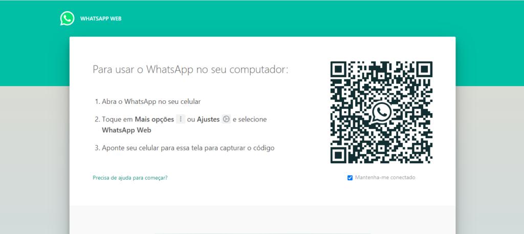 A conexão do whatsapp web funciona através da leitura de um qr code