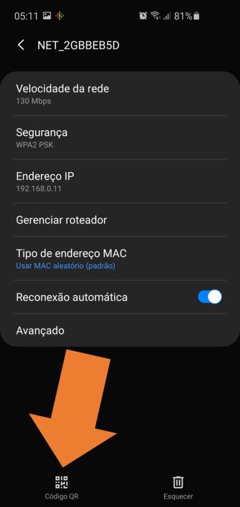 Tela do android mostra o botão de compartilhamento de rede por qr code na parte inferior esquerda.