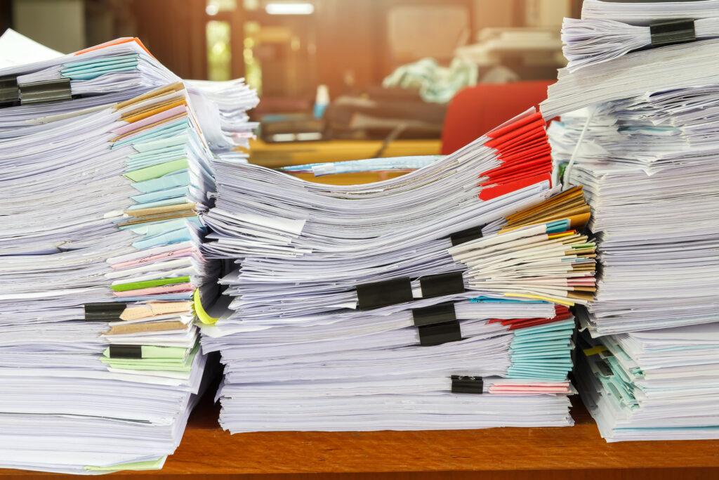 Documentos em papel para assinatura eletrônica