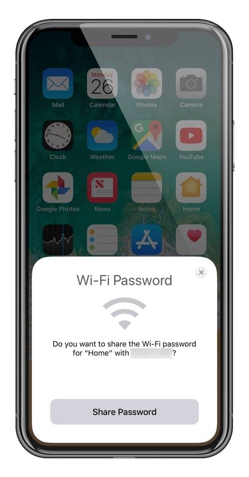 Tela de iphone em que aparece notificação de que alguém deseja se conectar à rede wi-fi.