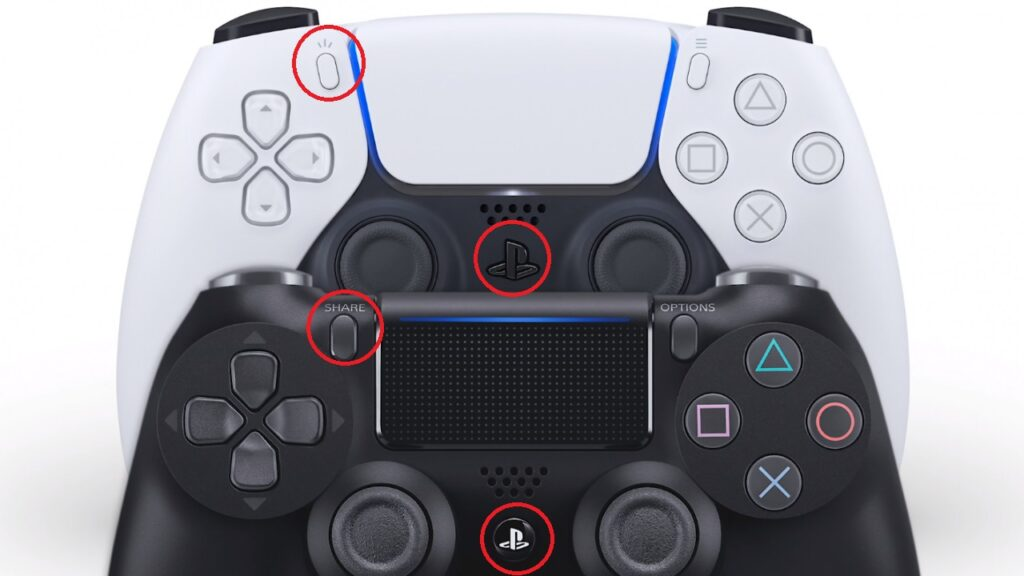 A imagem mostra o controle do playstation 4 e 5 com círculos no botão de home e share.