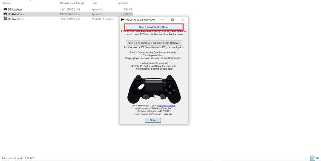 A imagem mostra qual botão deve ser apertado para instalar o driver, com os dizeres: step 1: install the ds4 driver