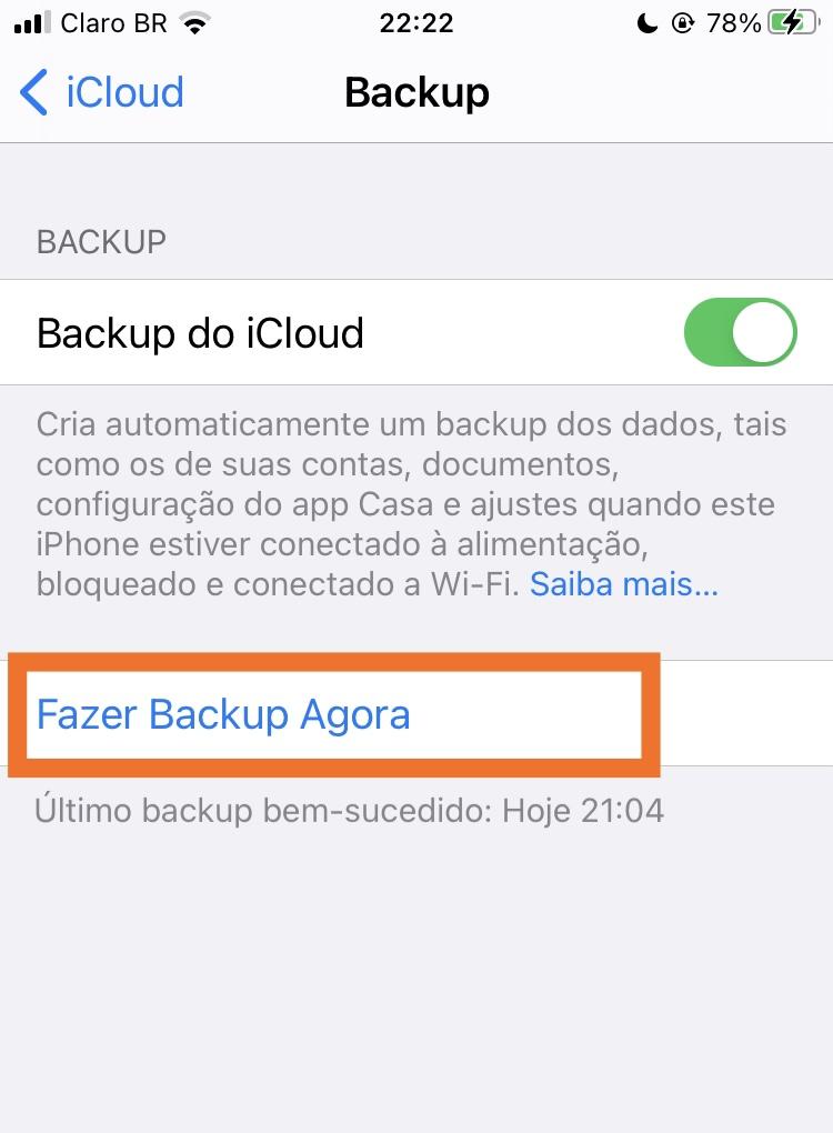 Fazer backup do icloud