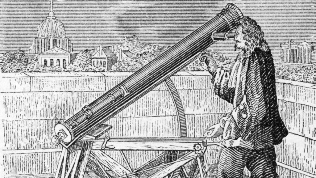 Uma ilustração de isaac newton observando em seu telescópio.
