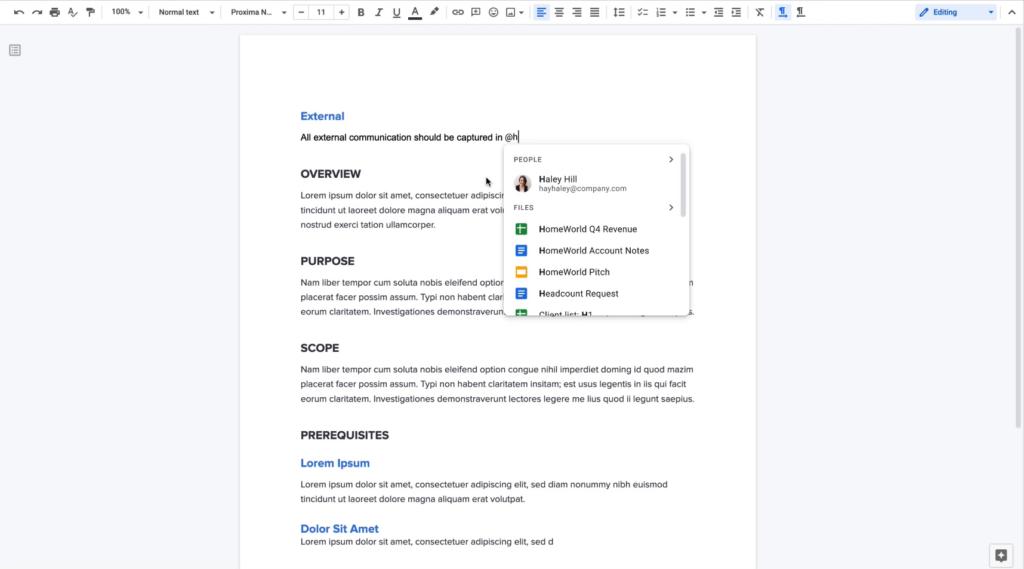 Tela do google docs mostrando funcionamento do smart canvas