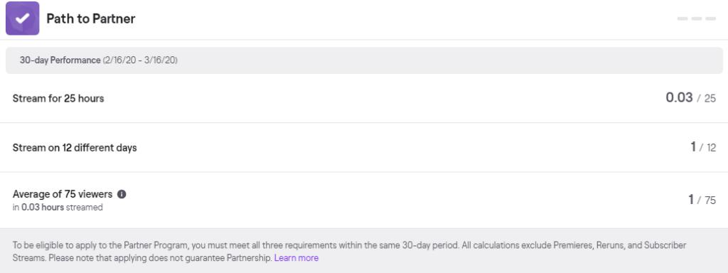 Alguns dos objetivos estabelecidos pela twitch para chegar à afiliação com a plataforma