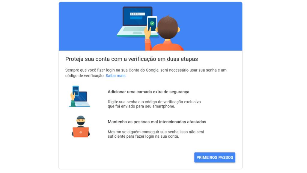 Google vai ativar verificação em 2 etapas