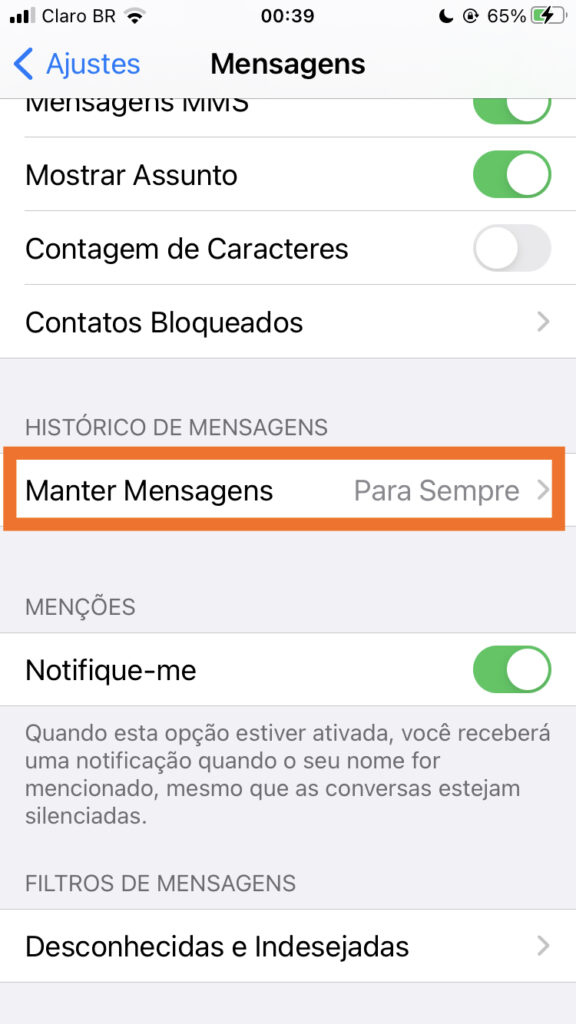 Manter mensagens no iphone