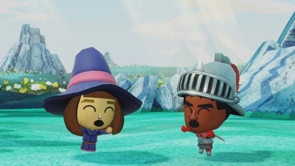 Dois personagens do game fazem uma dancinha.