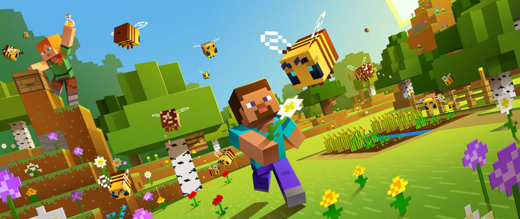 Minecraft como exemplo de um dos mais assistidos jogos na pandemia.