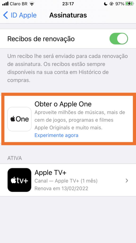 Assinar apple one