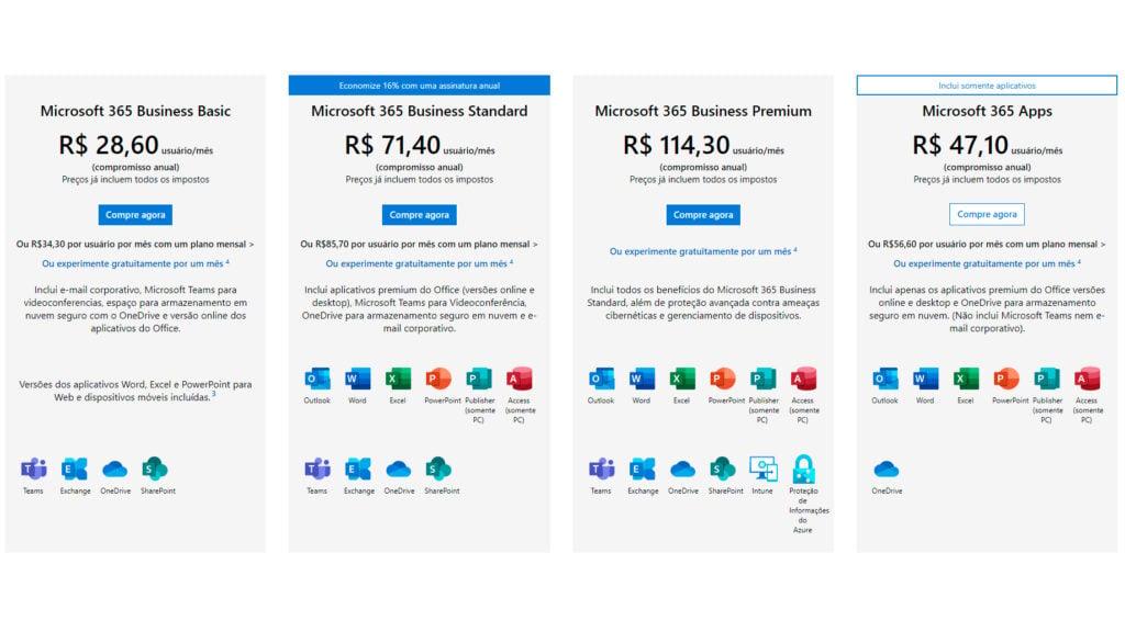 Há também a opção do microsoft 365 para empresas, com e-mail corporativo incluso e outros benefícios nas versões mais caras.