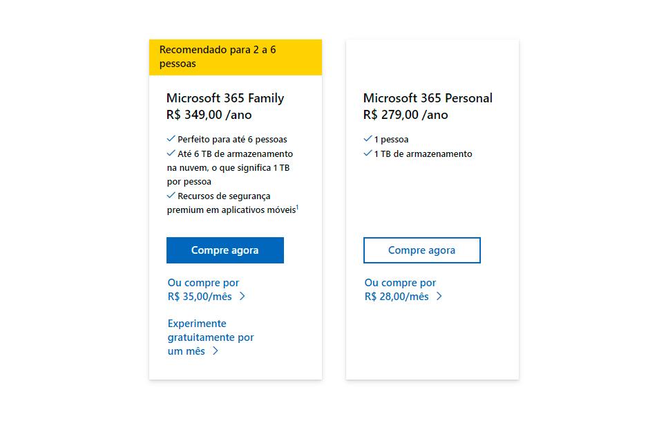 Os preços anuais e mensais do microsoft 365 - bem como as diferenças entre o plano família e o personal, em uma imagem.