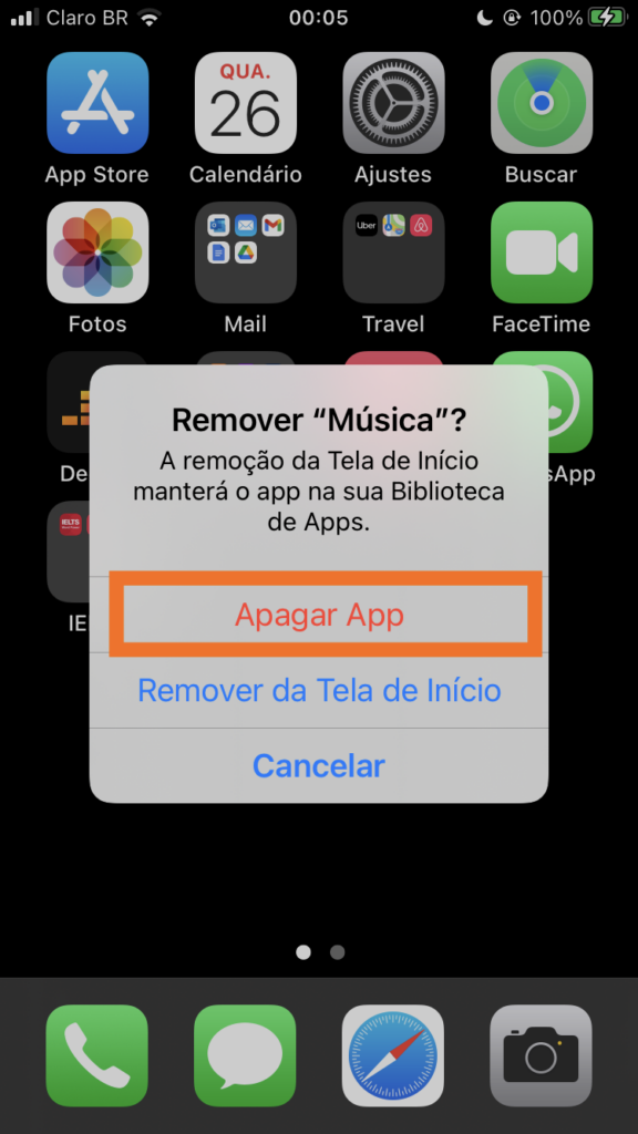 Remover app do iphone