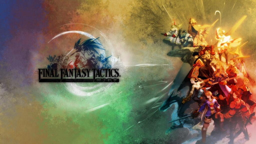 Imagem do logo e personagens de final fantasy tactics.