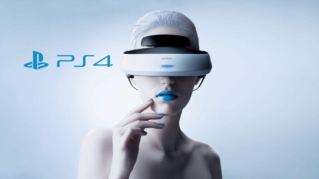 Imagem de uma moça com o playstation vr.