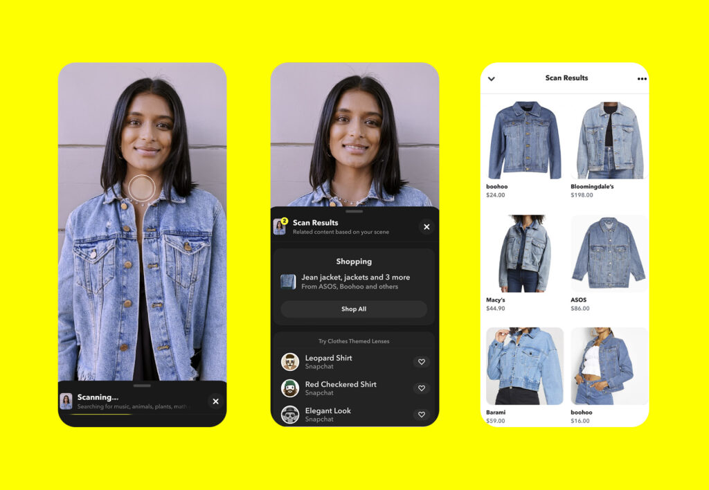 Scanner de roupas do snapchat