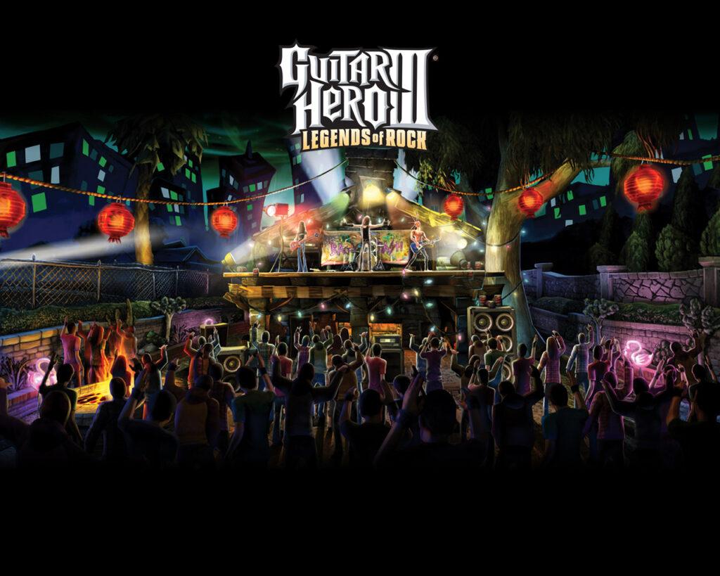 Um palco com uma banda e o público agitado com o desempenho musical.