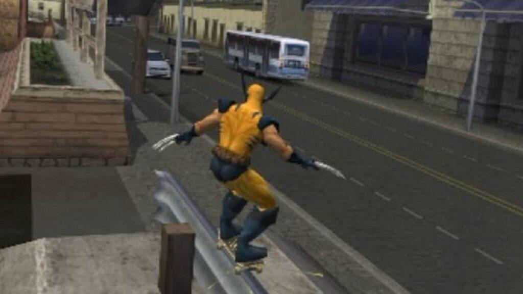 A imagem mostra o personagem wolverine dos x-men  em sua fantasia clássica.
