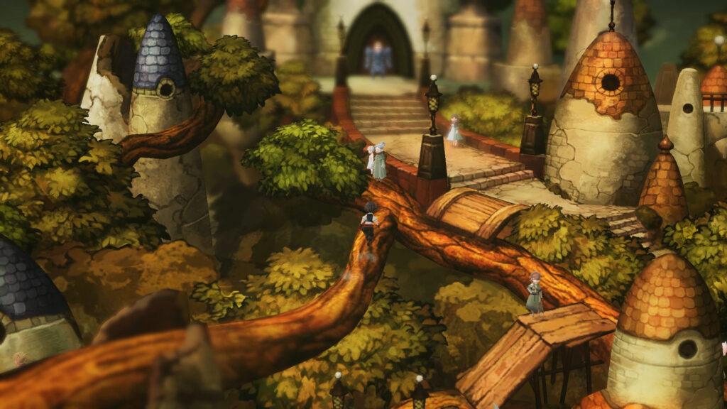 Personagens andam sobre galho de enorme árvore; castelo ao fundo.