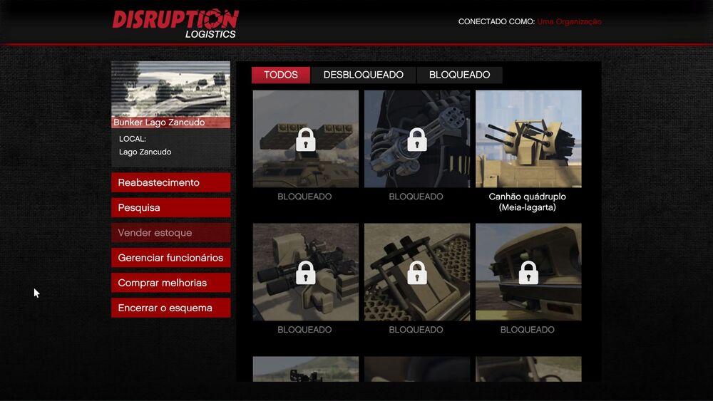 Menu do bunker gta online