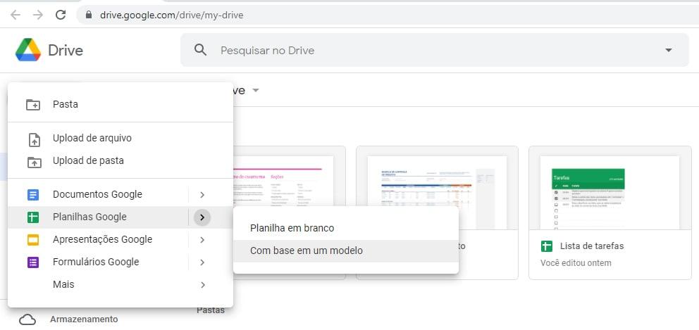 Clique em com base em um modelo para ver as opções disponíveis