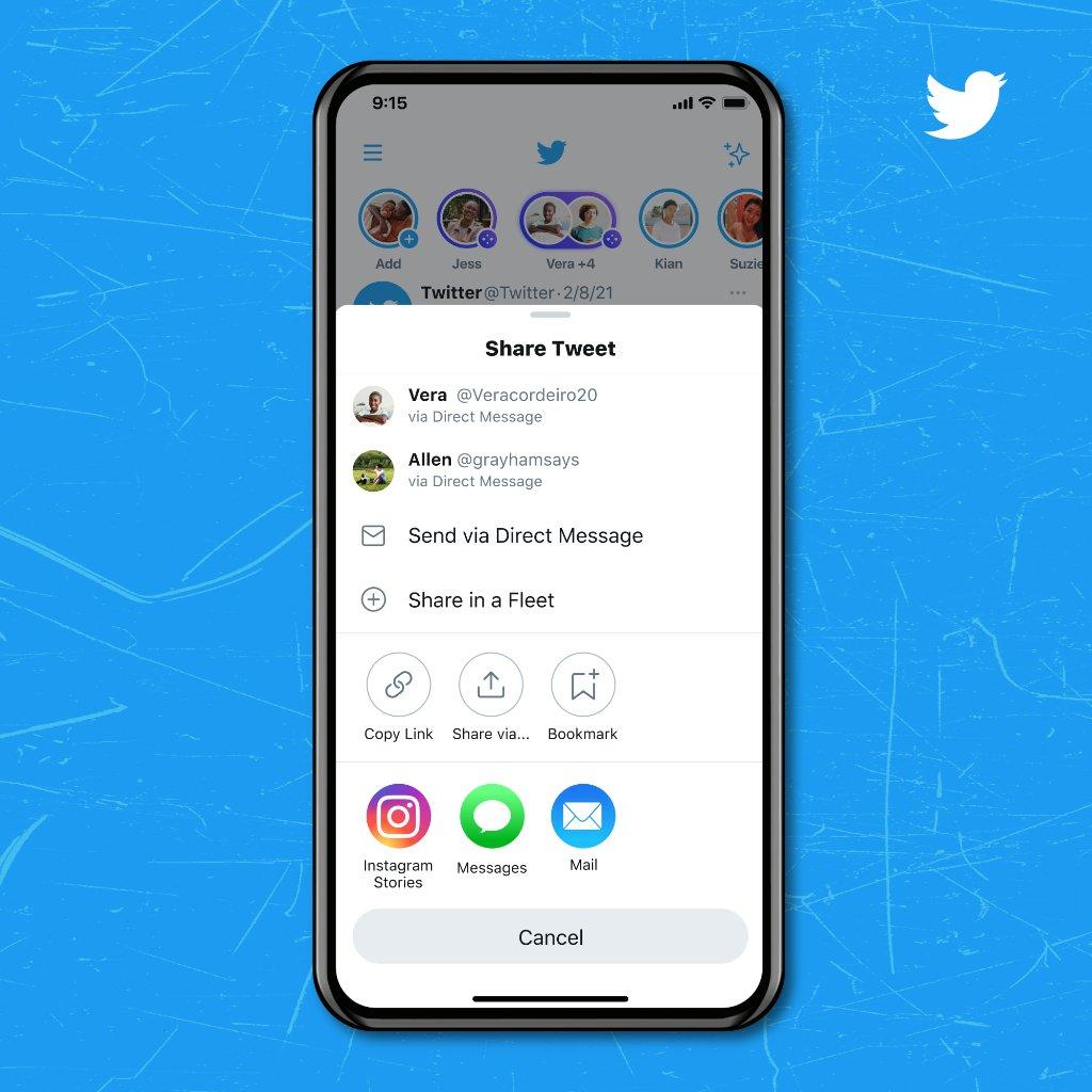 Tweets como stories do instagram