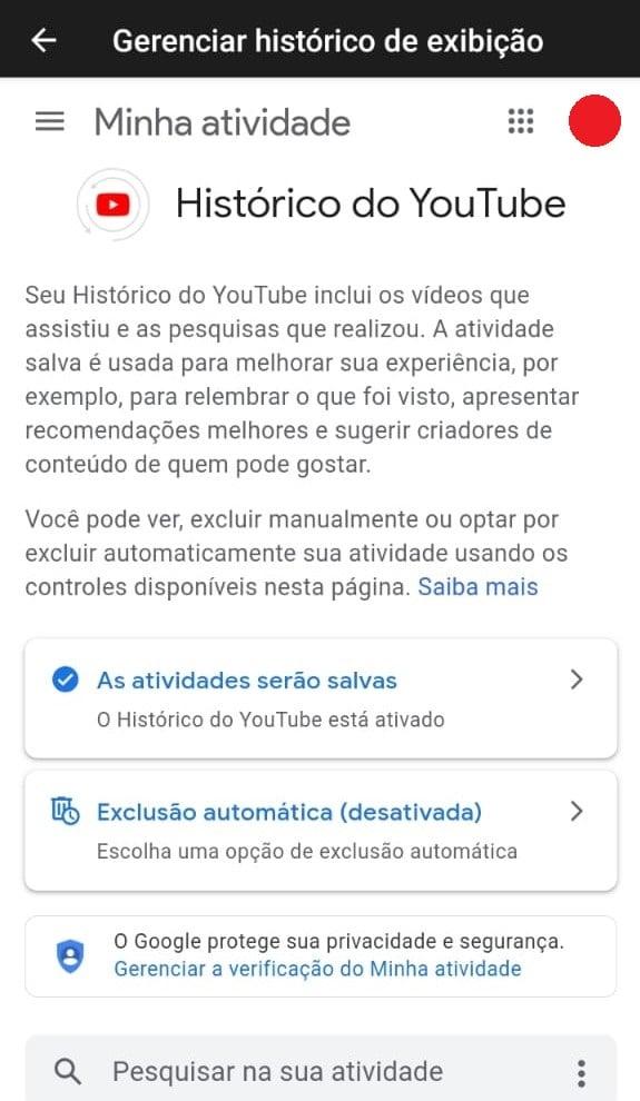 Opções no histórico do youtube