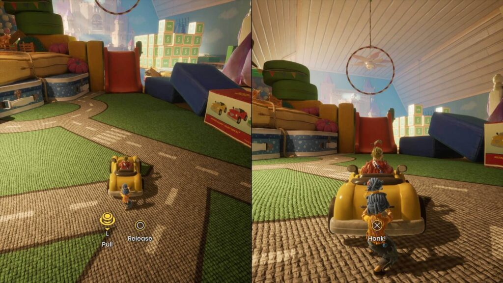 Em tela dividida, cada personagem assume uma posição para pôr um carro em movimento.