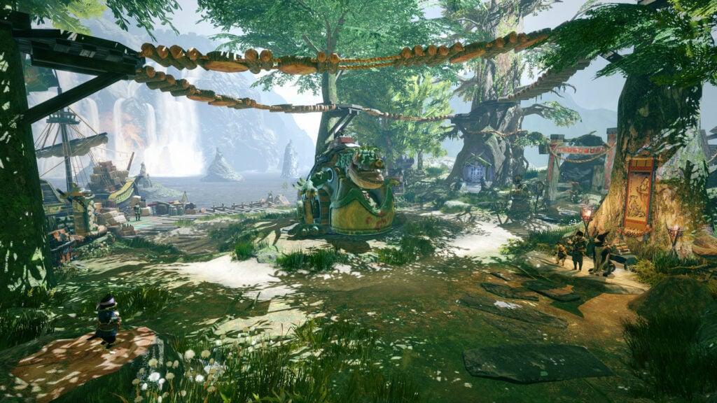 Cena da natureza de monster hunter rise, um dos melhores jogos de 2021 até o momento.