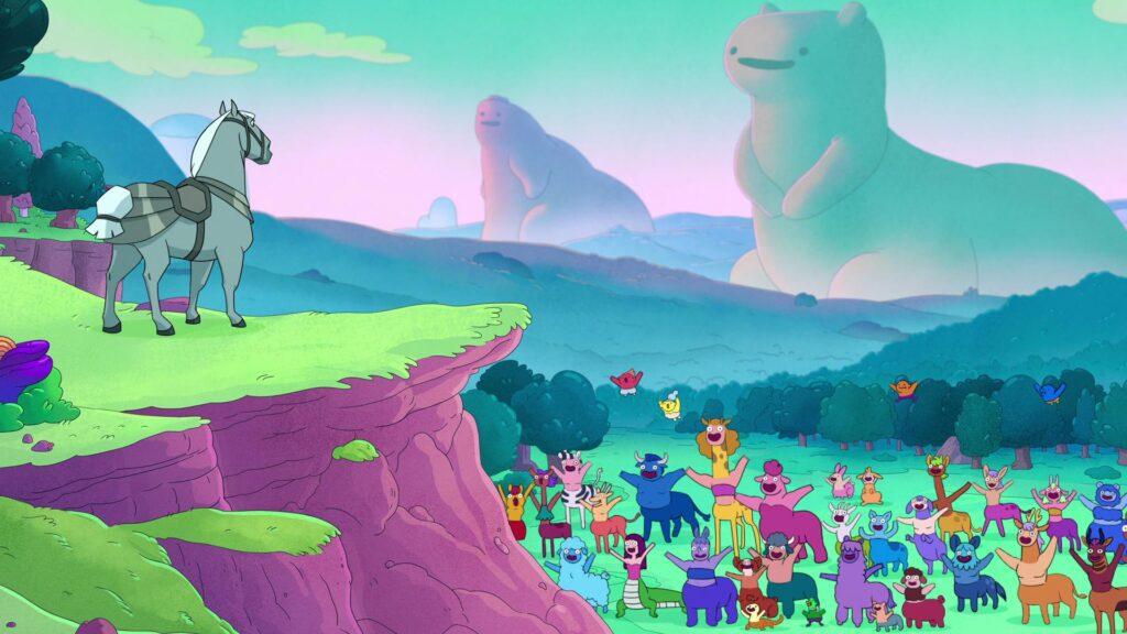 Personagens coloridos encantam as crianças em o mundo dos centauros