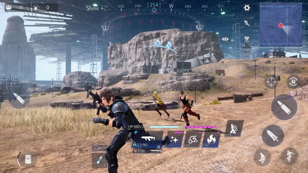 A cena mostra o gameplay de final fantasy vii the first soldier que foi mostrado durante a square enix presents 2021.