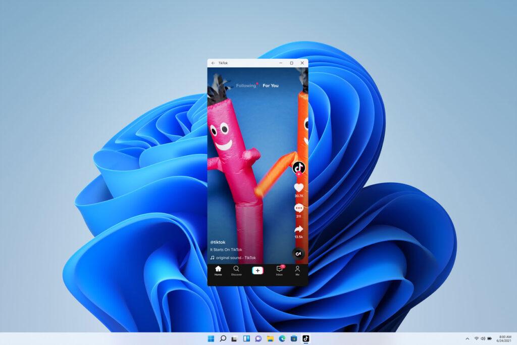 Aplicativos do android, como o queridinho do momento - tiktok - estarão disponíveis com o lançamento do windows 11