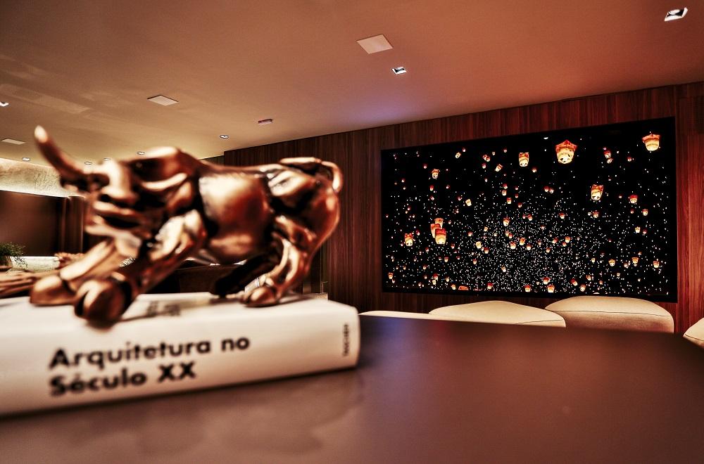 Samsung estrela mostra artefacto com a the wall, tela gigante de 146 polegadas