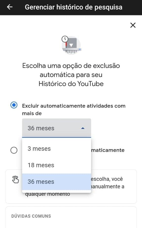 Histórico de pesquisa youtube