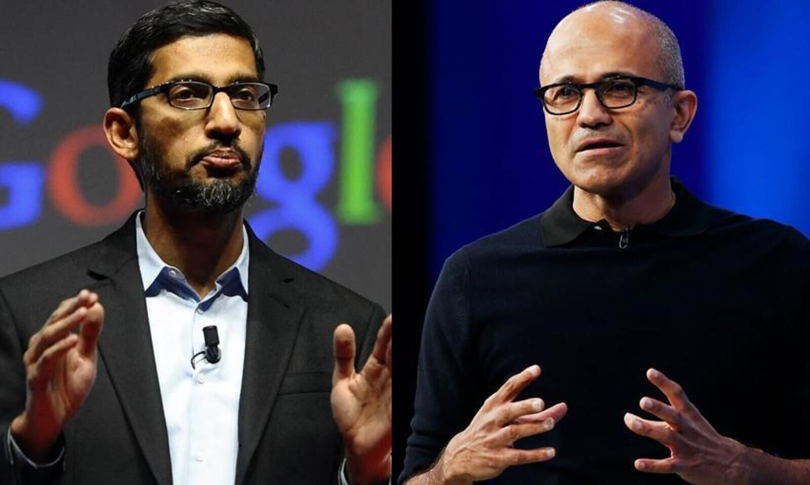 Sundar pichai, ceo da google, e satya nadella, ceo da microsoft | showmetech trio