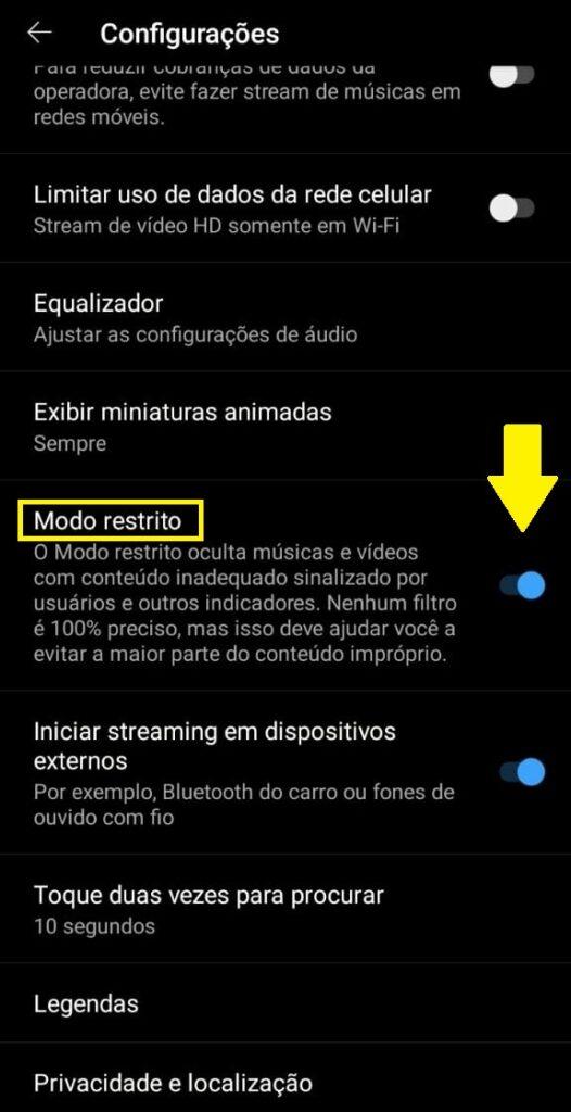 Ativar modo restrito no youtube
