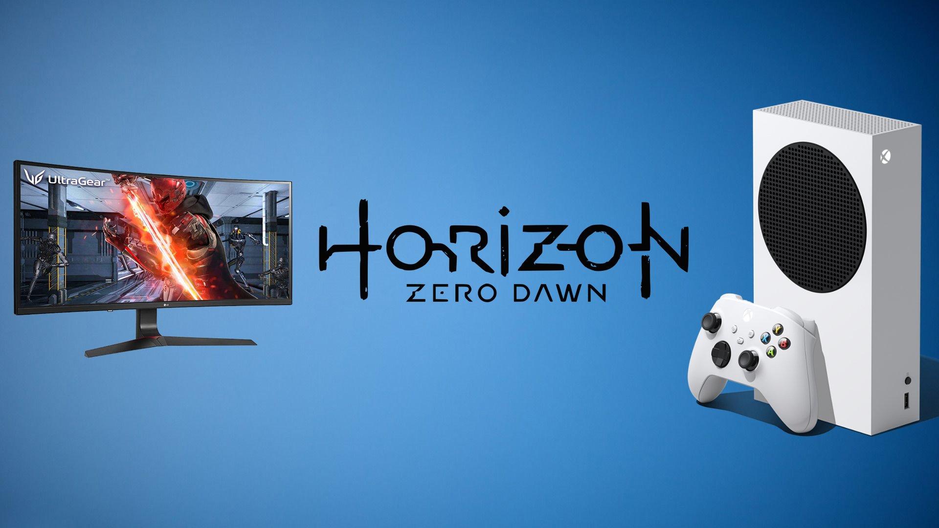 Fundo azul; em primeiro plano, na ordem: monitor da lg, logo de horizon zero dawn e xbox series s.