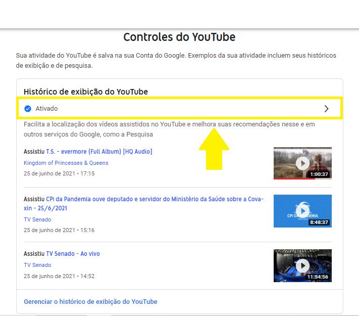 Histórico de exibição youtube