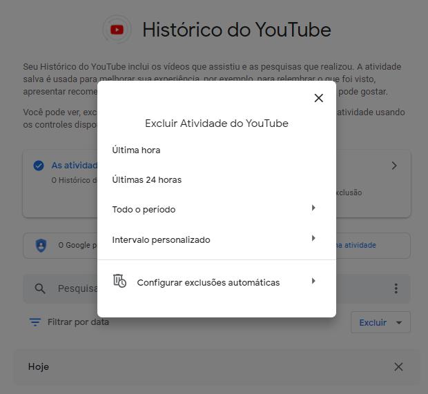 Excluir histórico do youtube