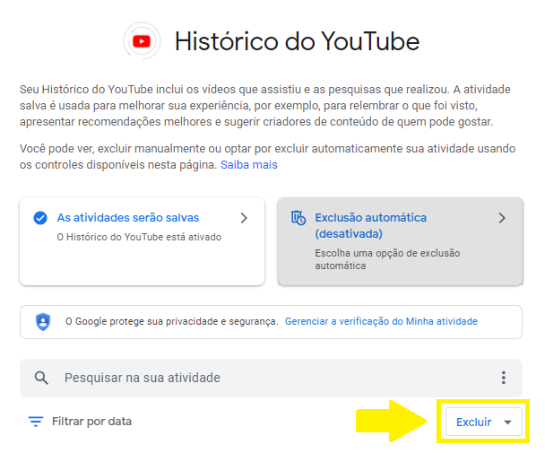 Gerenciar histórico do youtube